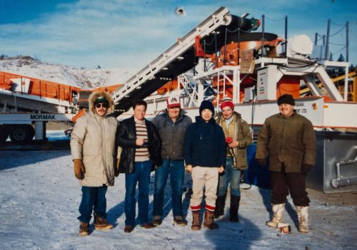 Bob Mohr (second from left) with the crew of H. Williamson Blacktop in William's Lake BC Late 1980's